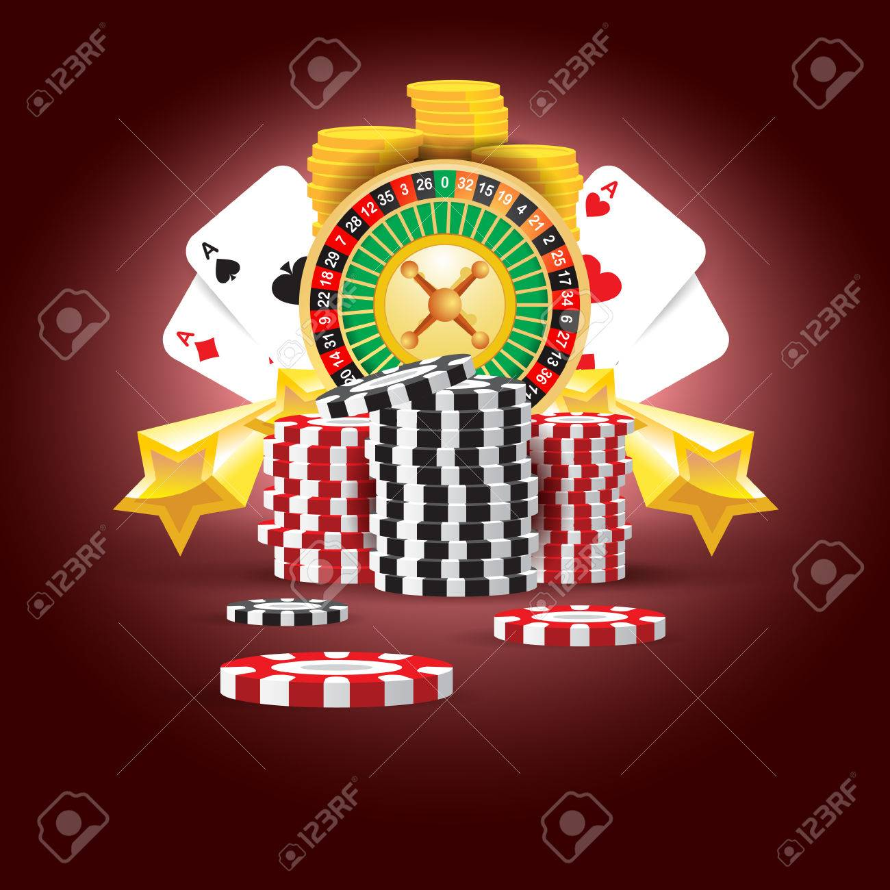 casino european roulette money cards game red black background - 55381054