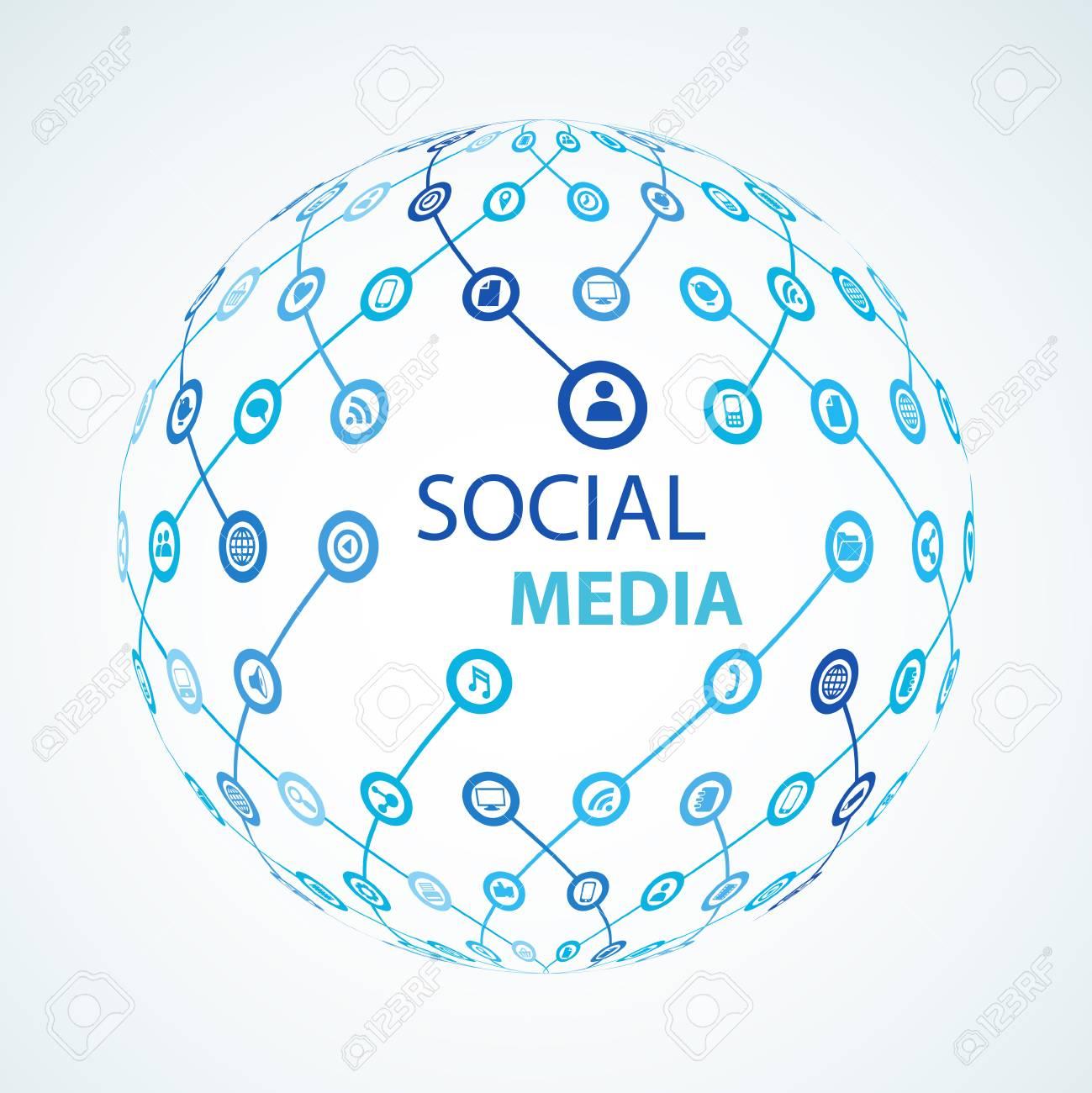 social media element icon sphere worldwide - 55381057