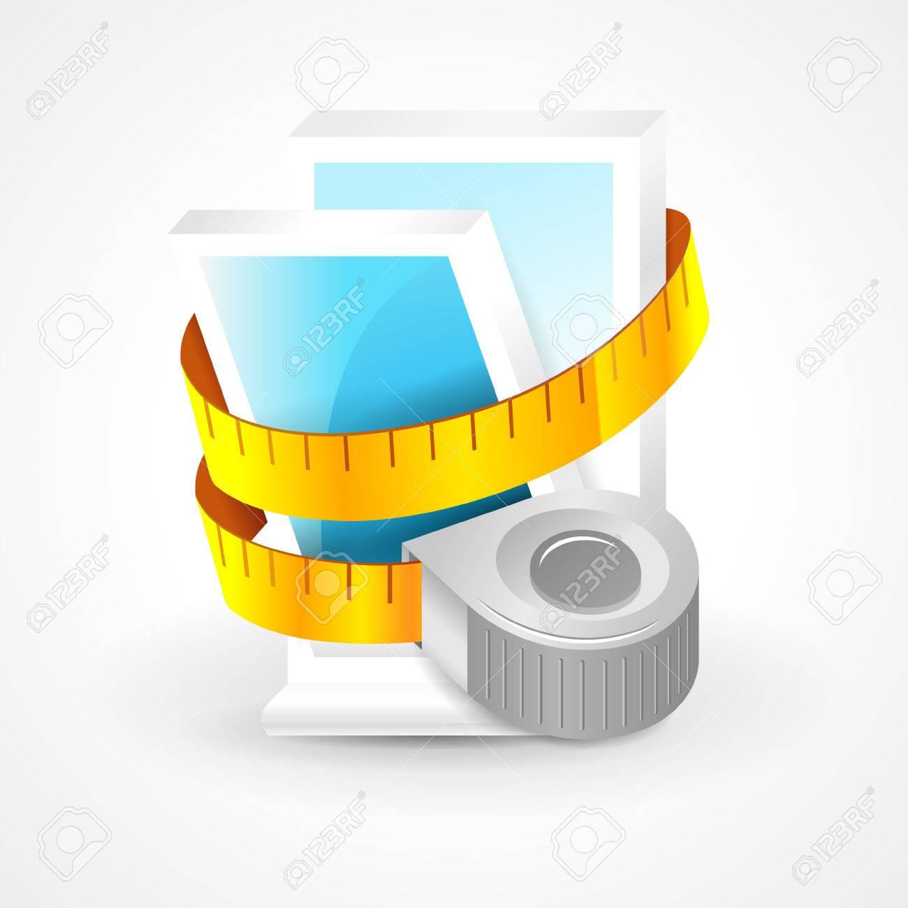 tape measure window plastic element icon - 55381070
