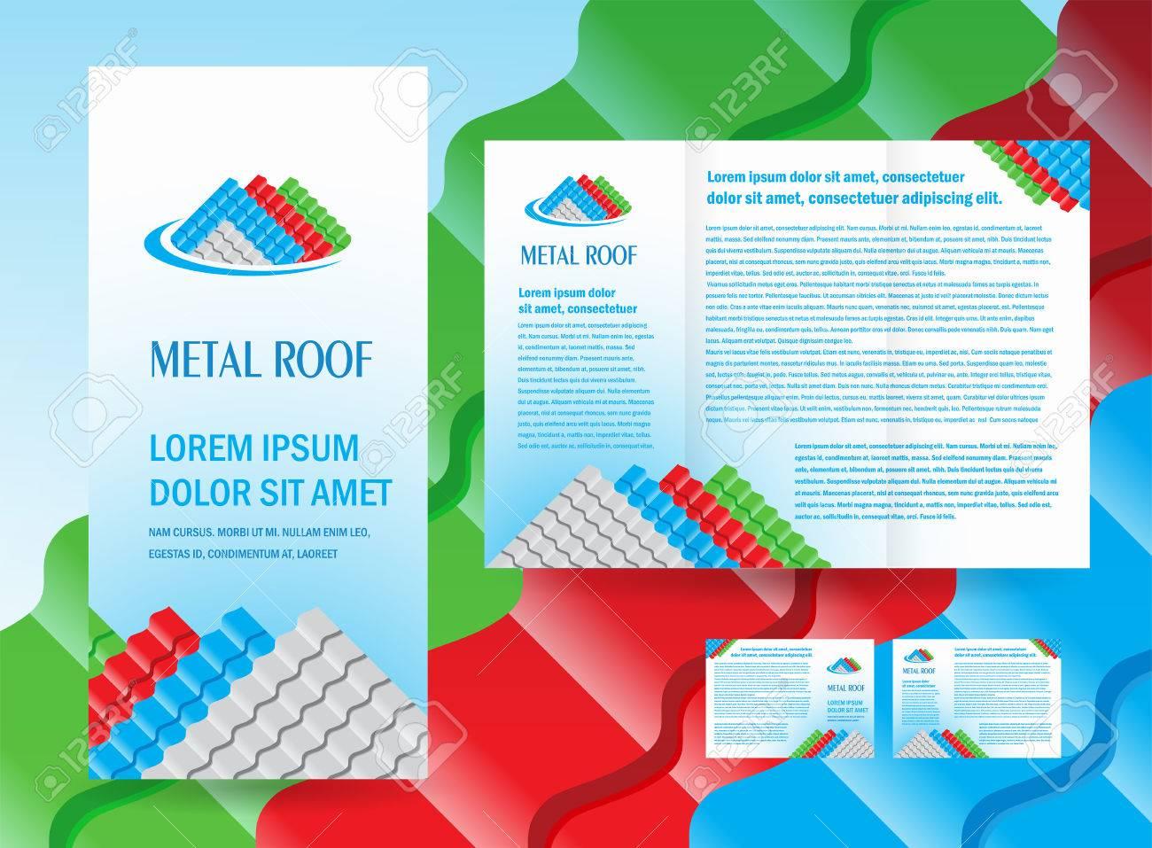 brochure folder roof metal profile colored design vector - 57696647