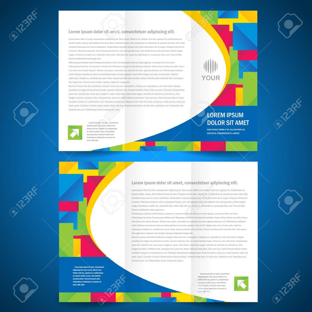 brochure tri-fold quadrate colorful element design template - 57729963