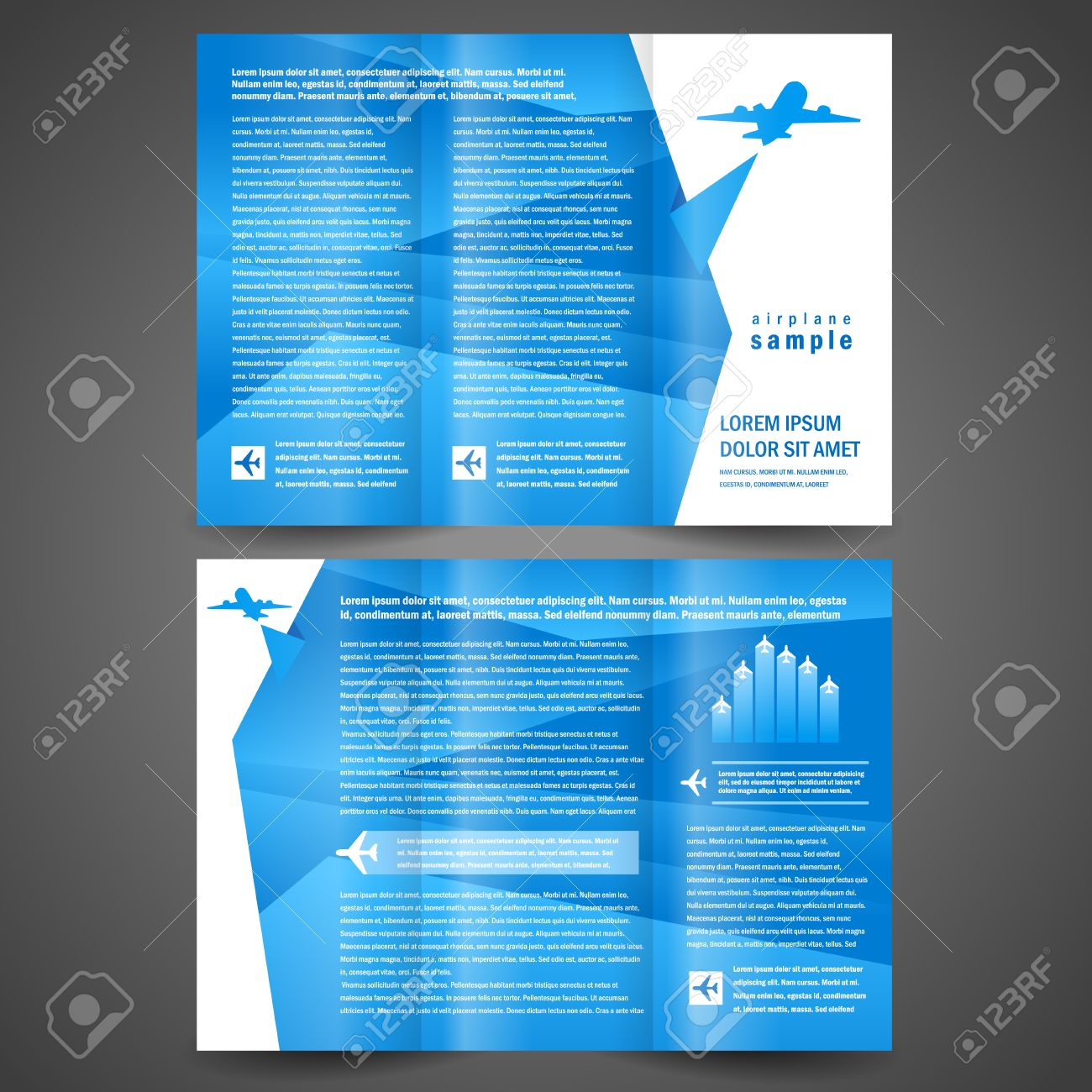 brochure airplane flight tickets air fly cloud sky blue white color travel background - 57729960