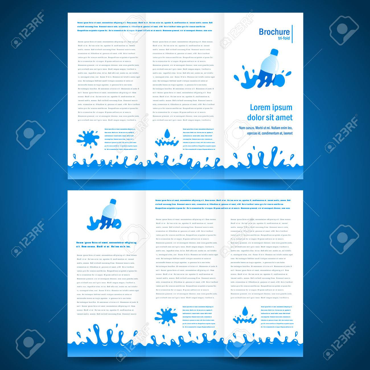 brochure folder water aqua splash bootle element design - 57729964