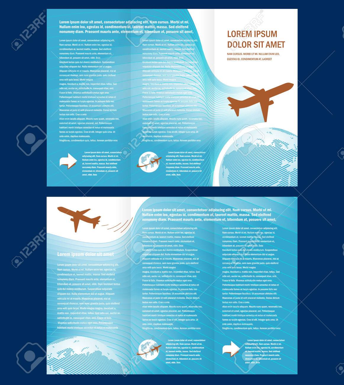 brochure airplane flight tickets air fly cloud sky blue white color travel transtortation globe background - 57743244