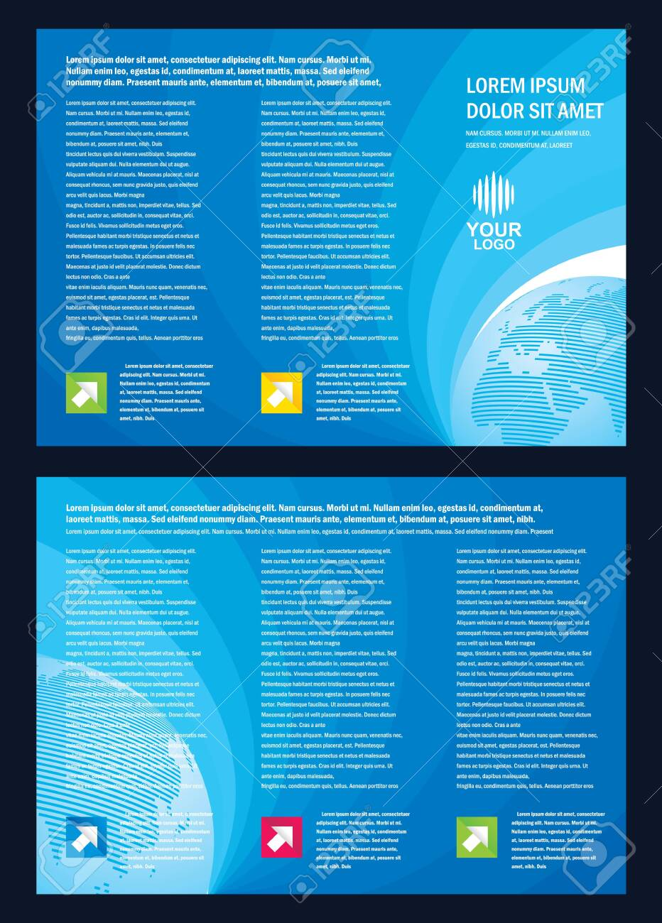 Brochure line globe color blue vector cmyk no effect - 131590440