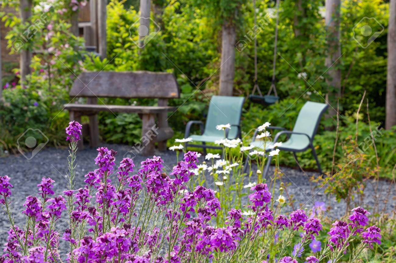 Naturral Garden design with wooden bech and chairs. - 148069548