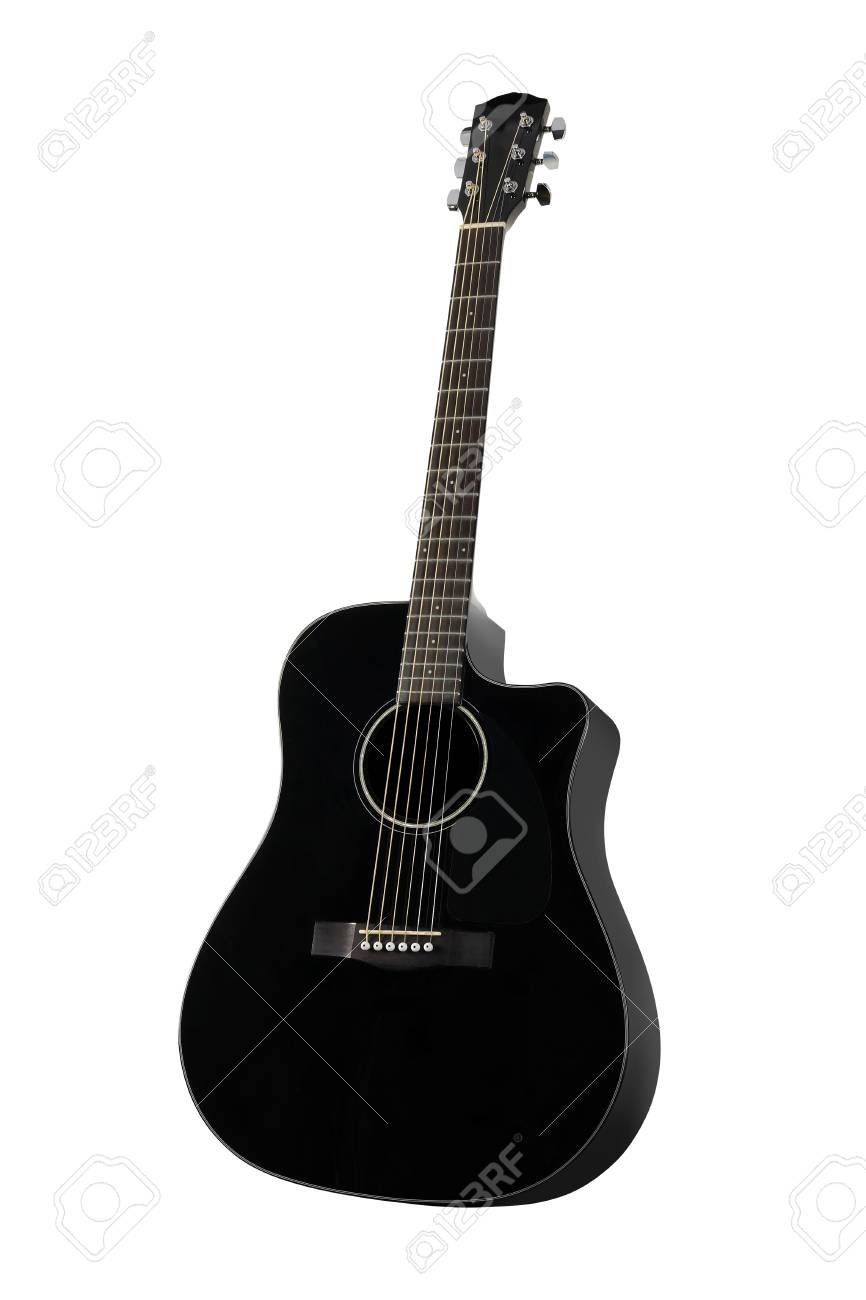 Musical Instrument Black Acoustic Guitar On A White Background