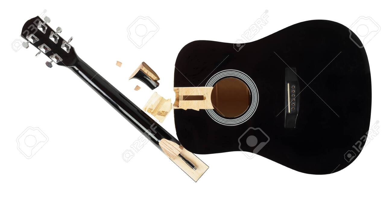 Guitar repair and service - broken sound board and neck acoustic guitar top view isolated white background - 128714944