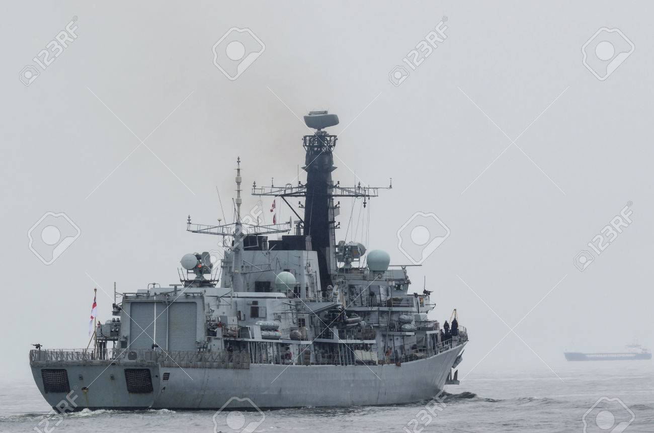 BRITISH FRIGATE - A warship on a patrol in the sea - 83093634