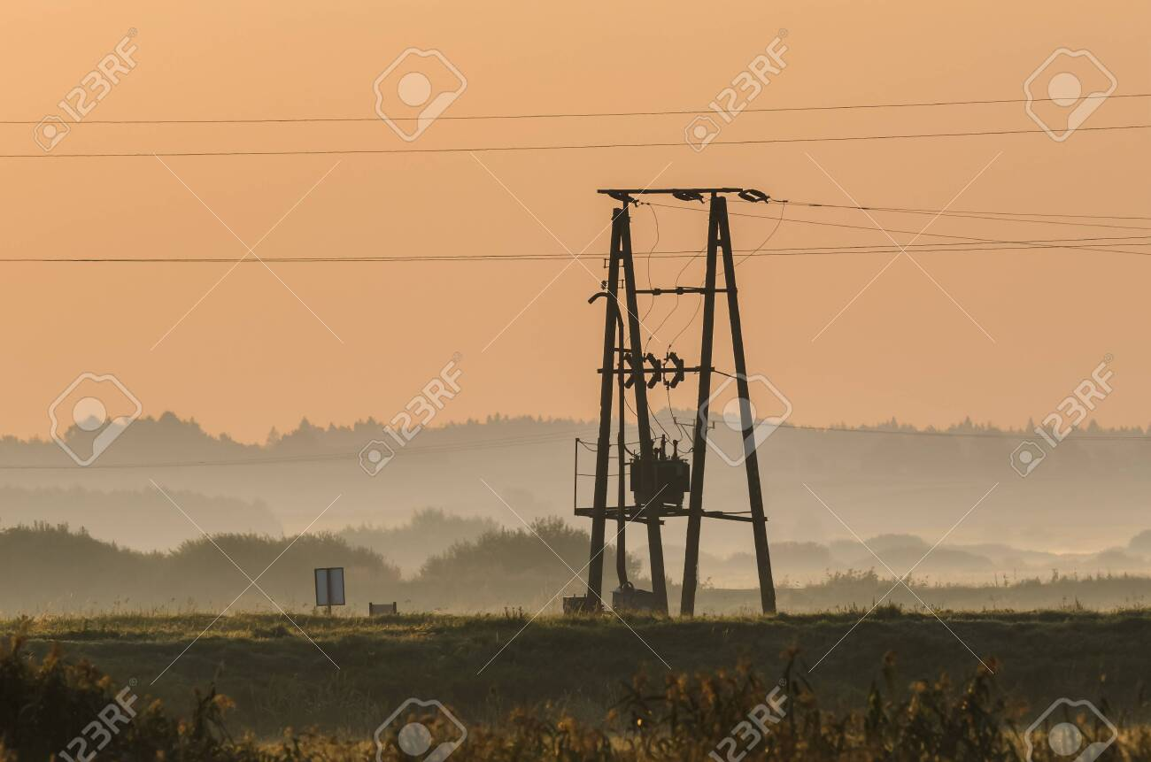 POWER ENGINEERING - Electric transformer on the pole - 155818267