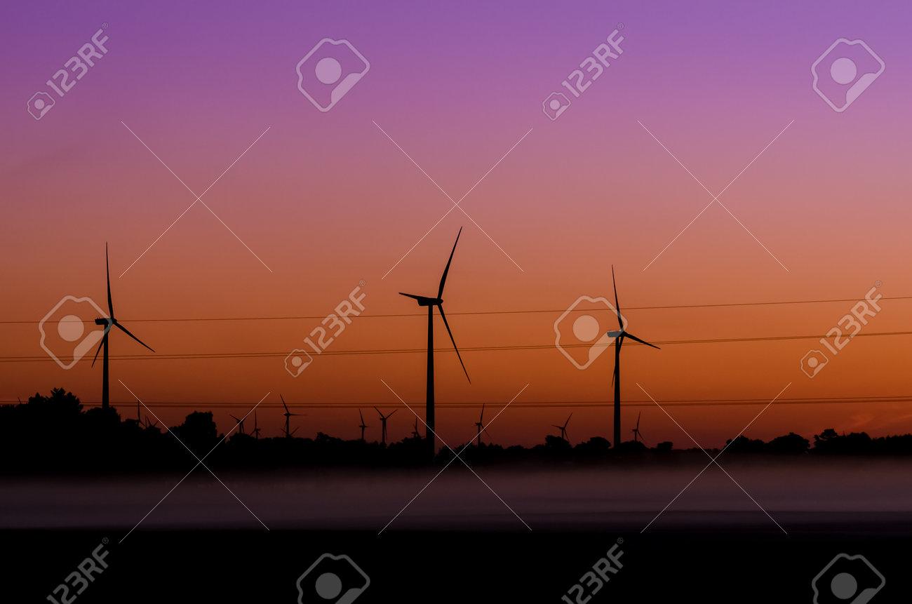 WIND FARM - Renewable energy sources at sunrise - 161443106