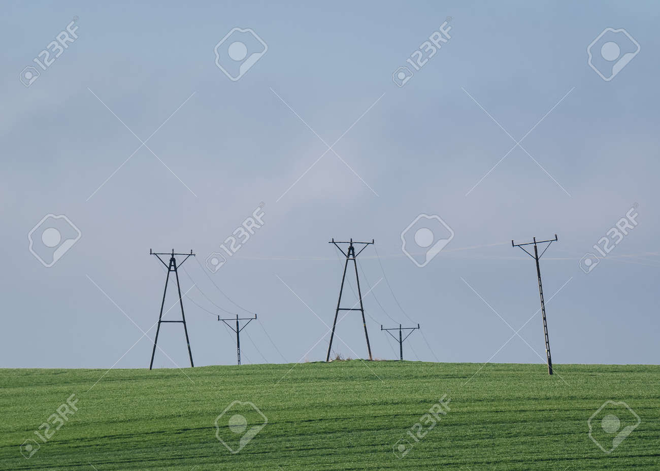 POWER ENGINEERING - High voltage power line in a green field - 169540990