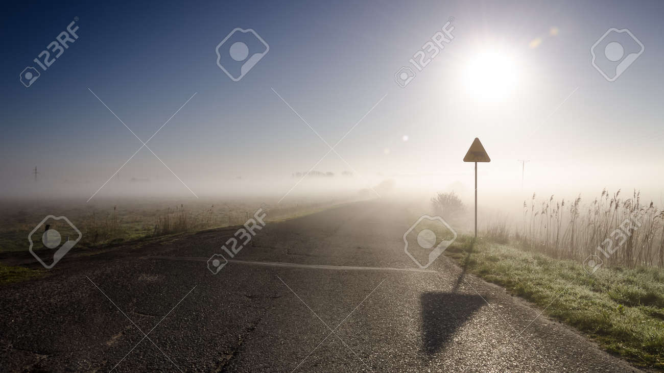 MISTY MORNING - Picturesque weather over the asphalt road - 169540991