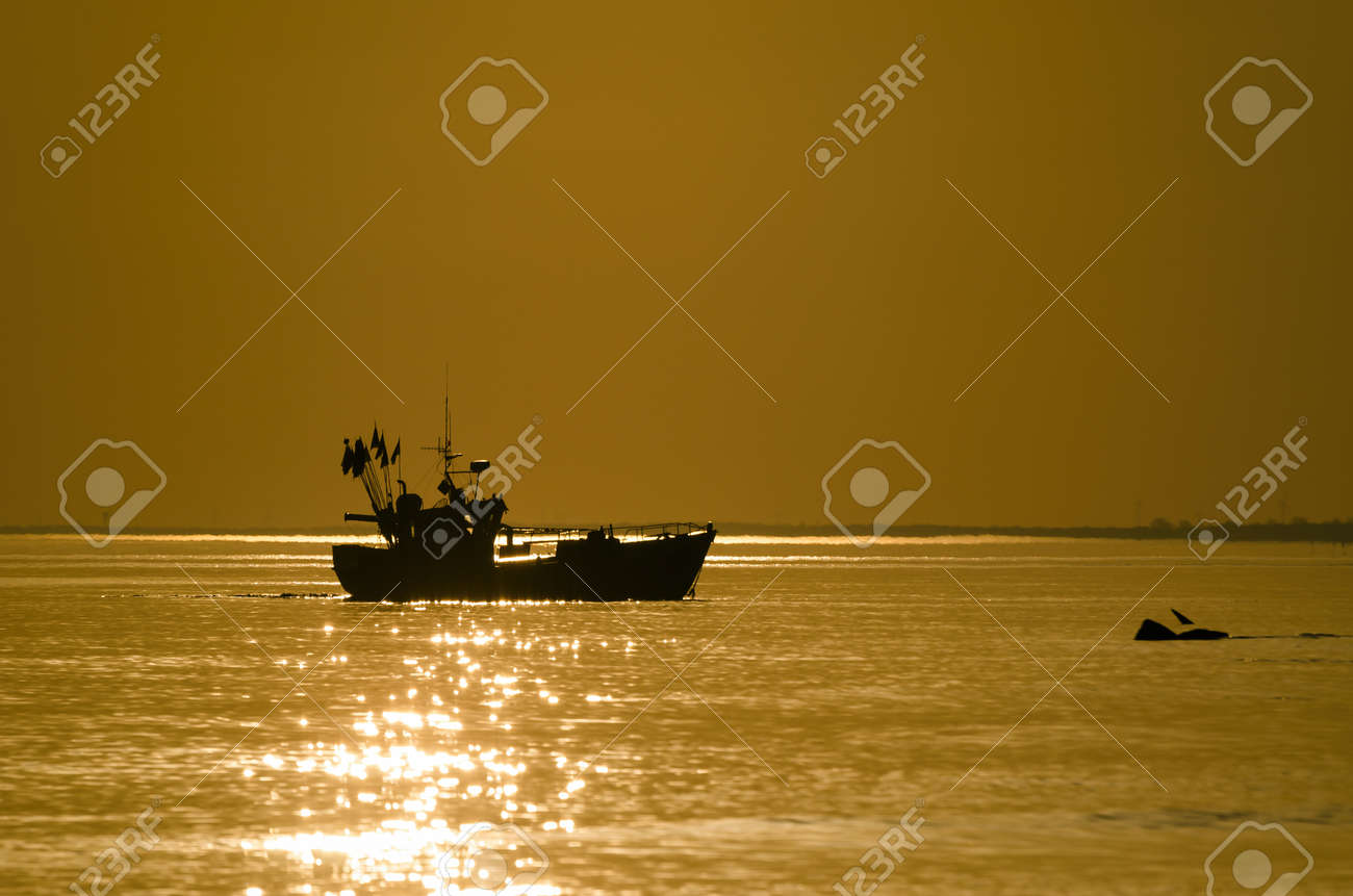 FISHING BOAT - A small ship at sea in the sunny morning - 169541034