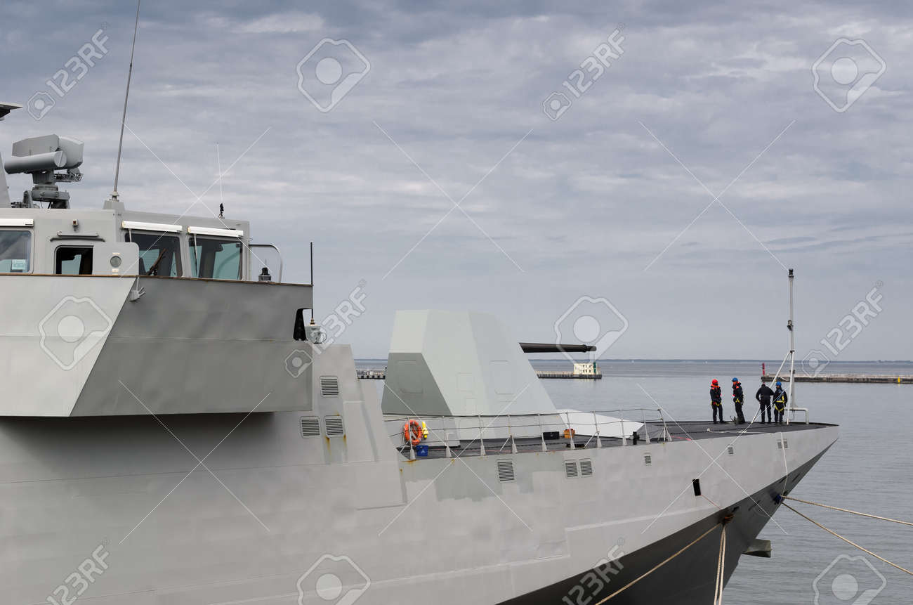WARSHIP - Italian Navy guided missile frigate moored at the seaport wharf - 170697182