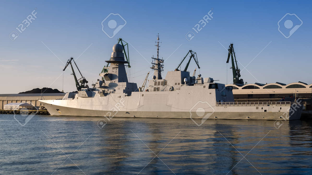 WARSHIP - Italian Navy guided missile frigate moored at the seaport wharf - 170697192