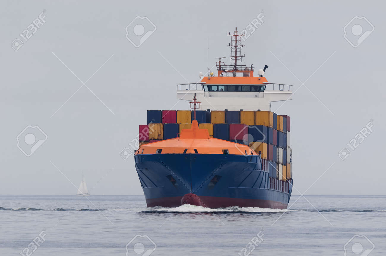 CONTAINER SHIP - Freighter sails on the sea - 171146719