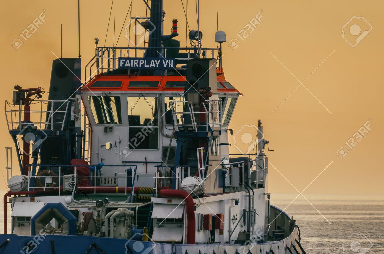 BALTIC SEA - 2021: Auxiliary ship sails on the sea at sunrise - 171697012