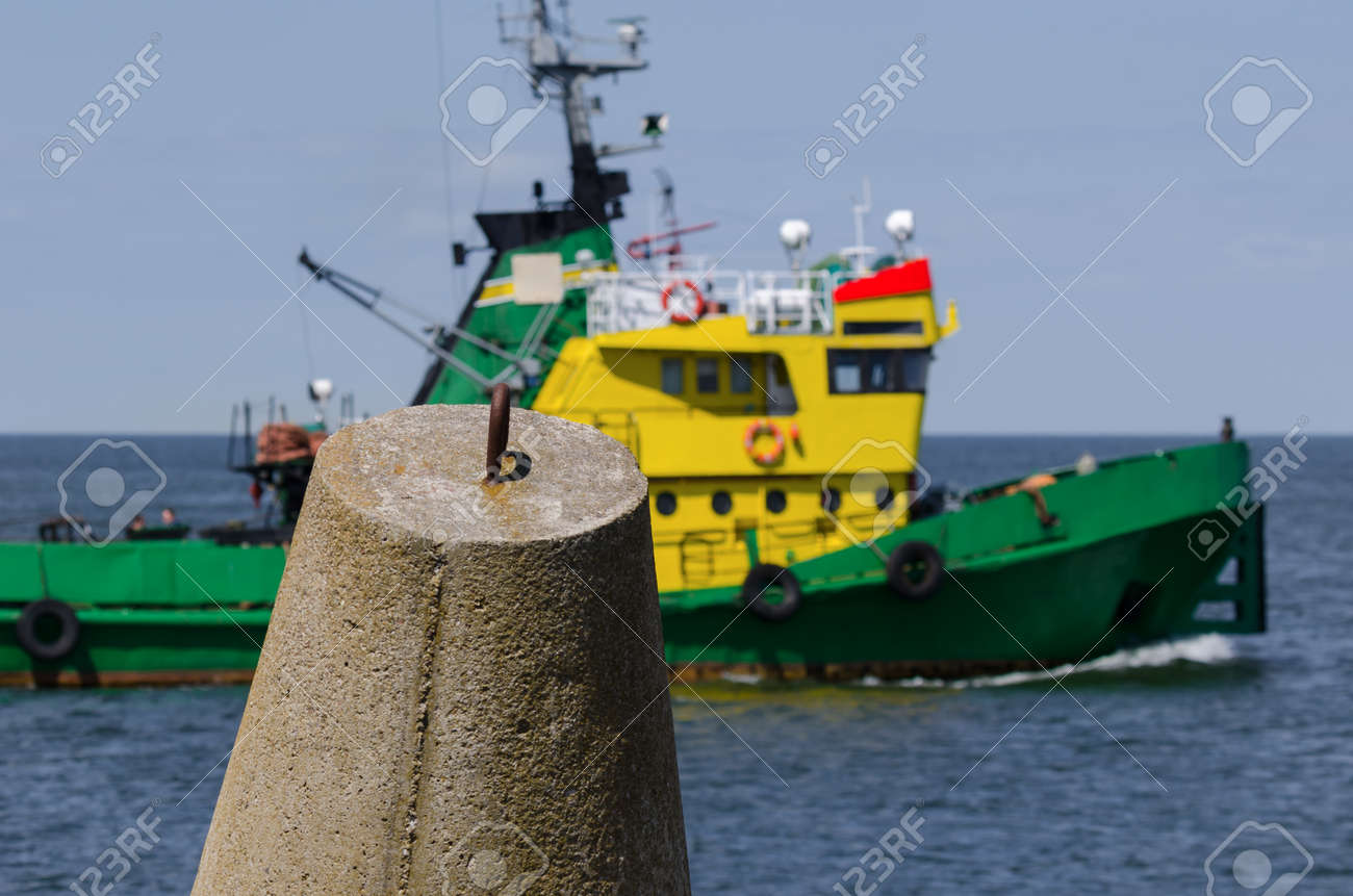 DOLOS AND TUGBOAT - Coastal fortifications against the background of the auxiliary ship - 171900242