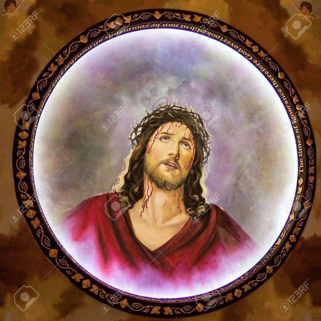 Jesus with crown of thorns, fresco in Coptic Church, Sharm El Sheikh, Sinai, Egypt - 12878215
