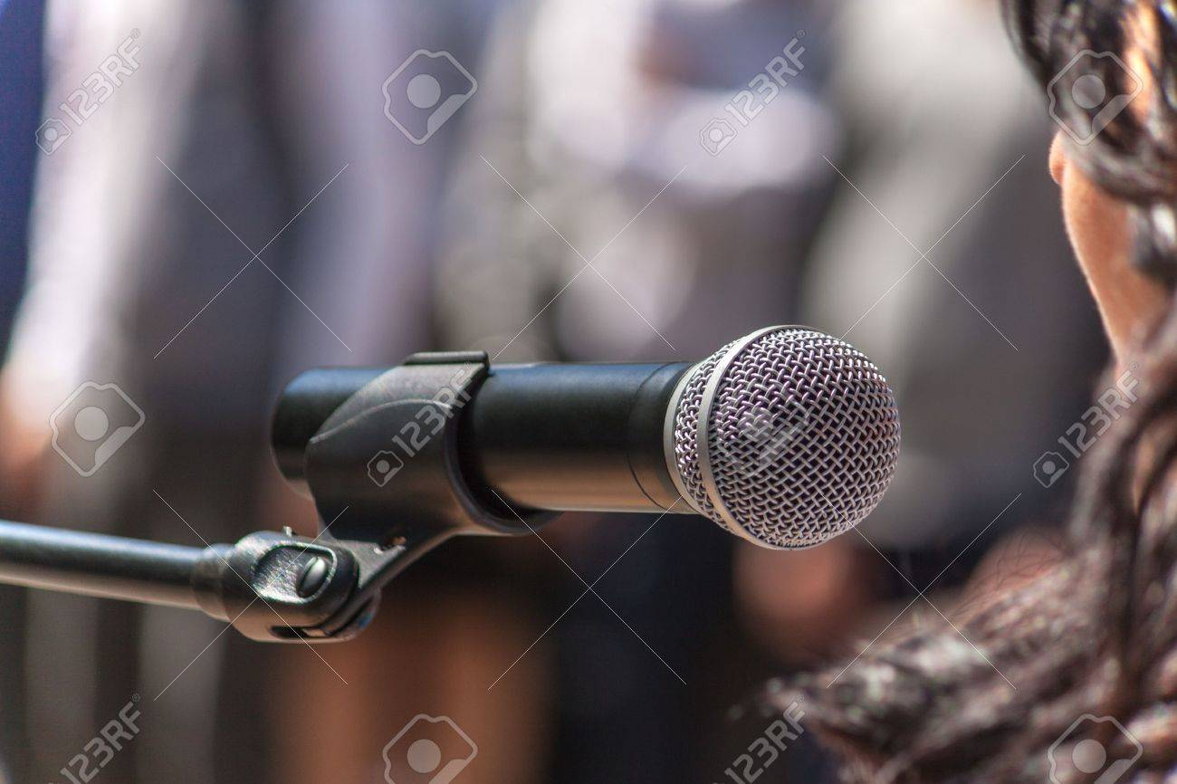 Microphone speaker at the rally, closeup Standard-Bild - 13884241