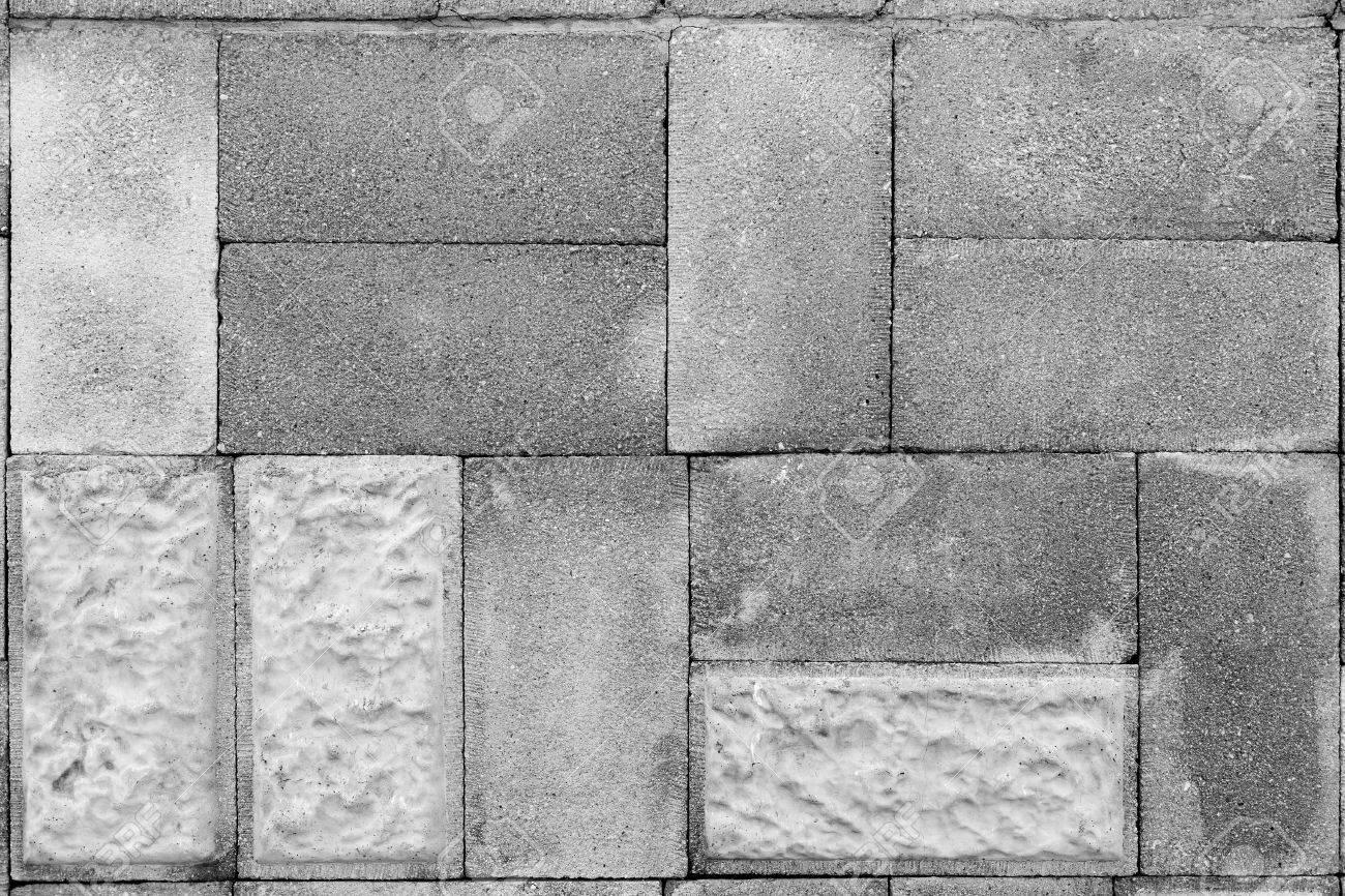 Monochrome Masonry Of Cinder Block With Decorative Elements Stock