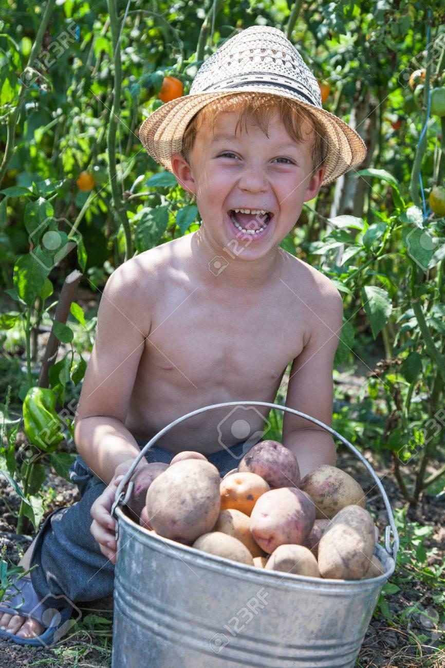 Happy young boy holding bucket of potatoes Standard-Bild - 31287615