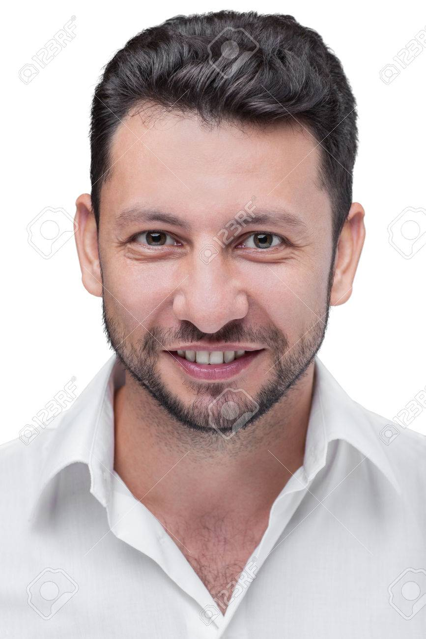 Middle eastern young attractive man with beard, studio portrait isolated on white background - 53143514