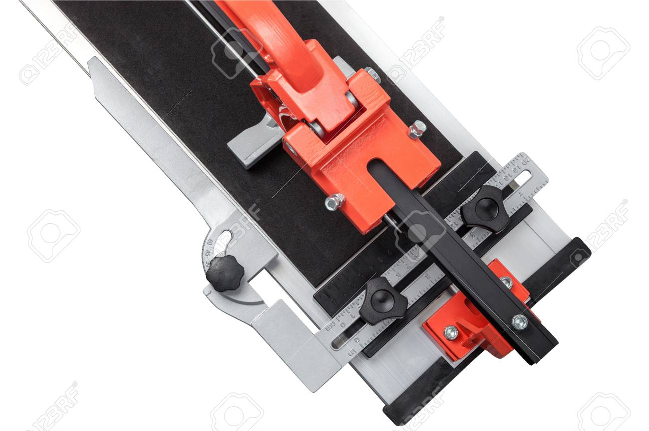 Fragment Of Manual Ceramic Tile Cutter Isolated On White Background