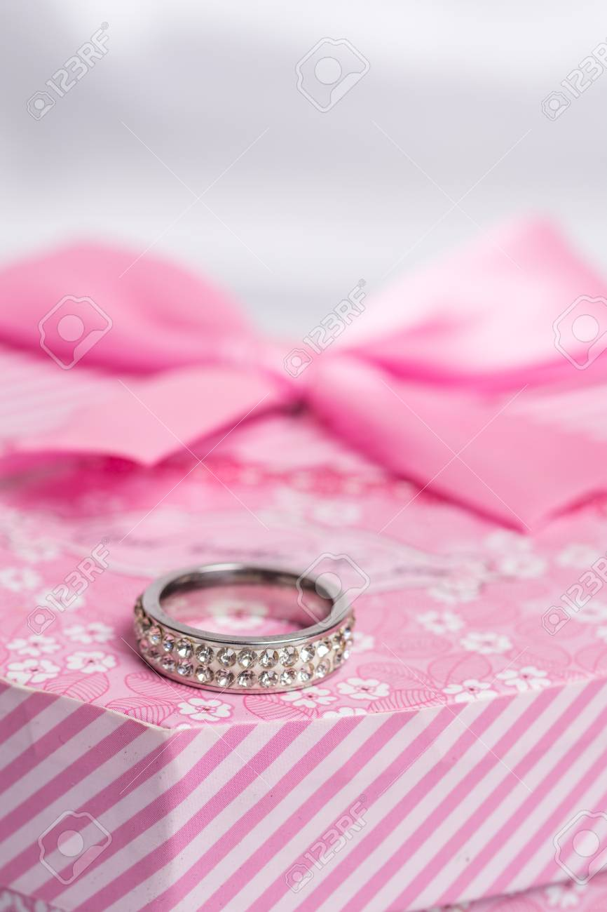 Pink Heart Shaped Gift Box Wedding Ring Stock Photo, Picture And ...