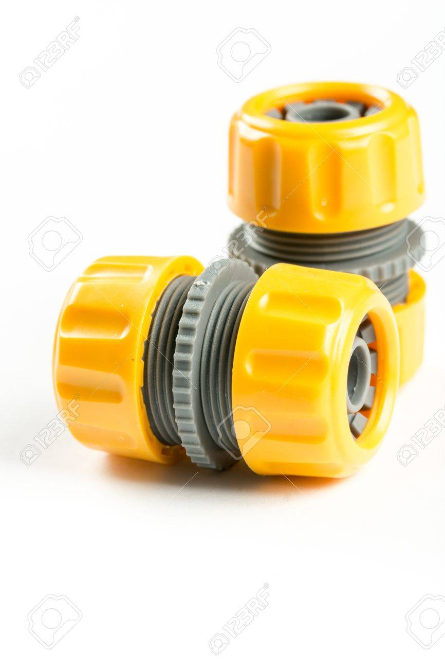 Stock Photo - Yellow plastic irrigation hose connectors over white background with copy space.  sc 1 st  123RF.com & Yellow Plastic Irrigation Hose Connectors Over White Background ...