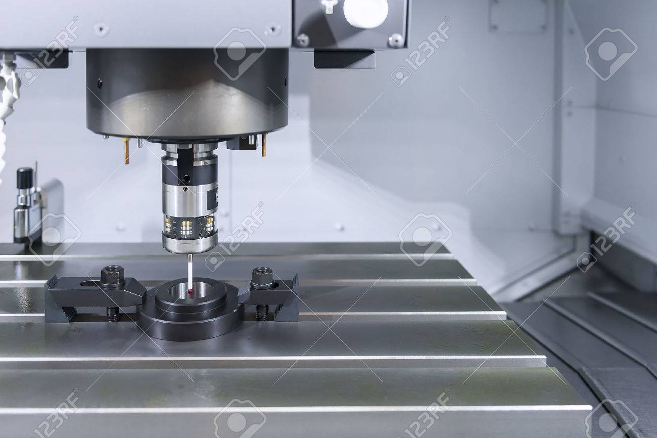 The Measurement Probe On The CNC Machine For Calibration.The.. Stock ...