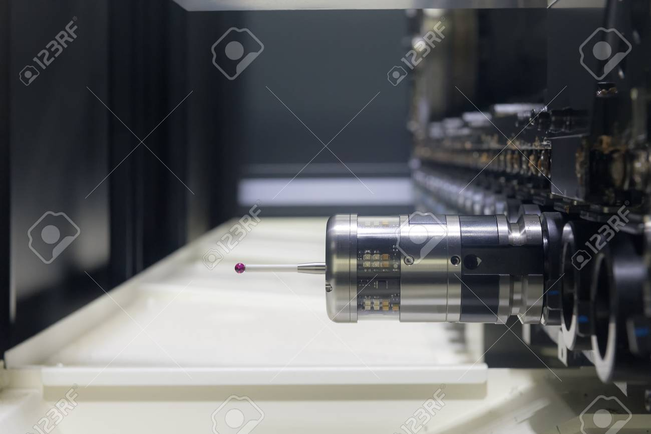 The Measurement Probe For Measure The Sample Part On The CNC.. Stock ...