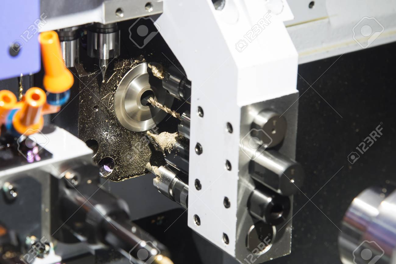 Multi function CNC lathe machine cutting the small part  Hi technology