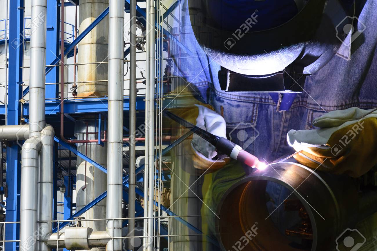 Abstract Scene Of Welding Operator And Industrial Pipeline Stock Photo Picture And Royalty Free Image Image 90503043