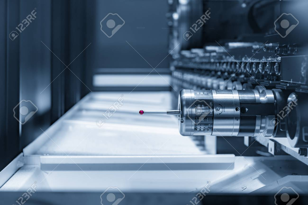The CMM Probe In The CNC Machine Magazine In The Light Blue Scene ...