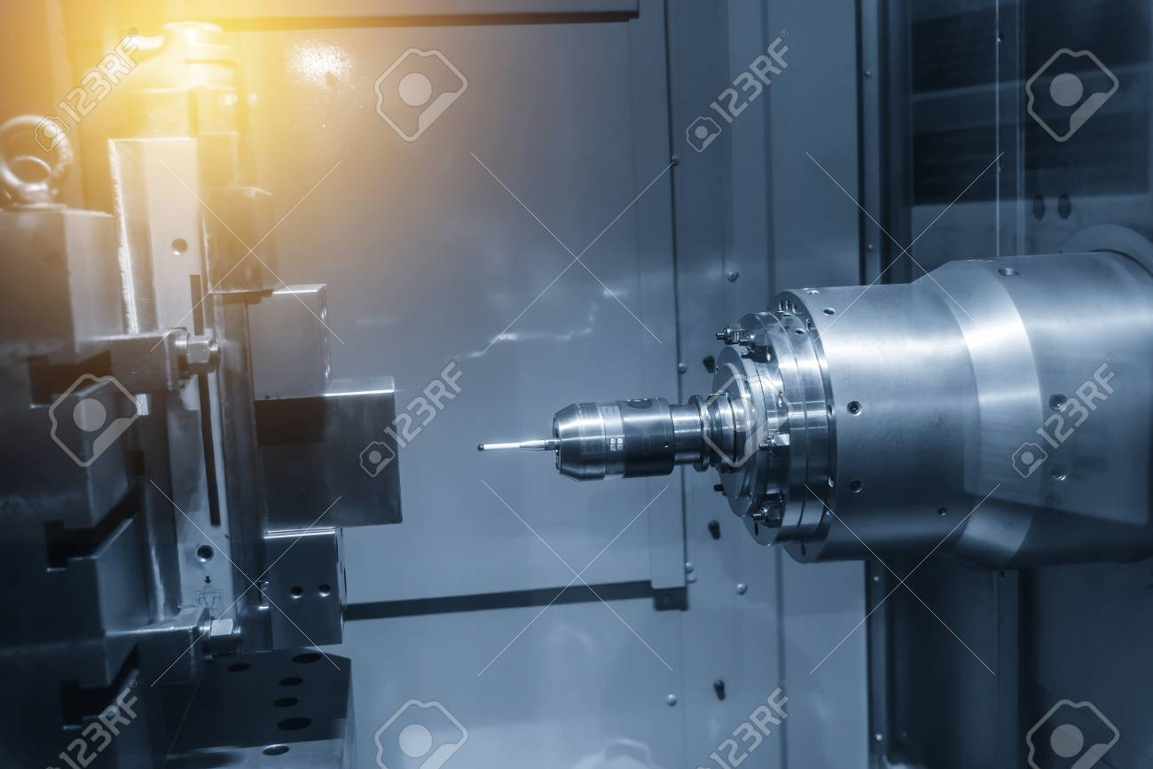 The Horizontal CNC Milling Machine Attach The CMM Probe In.. Stock ...