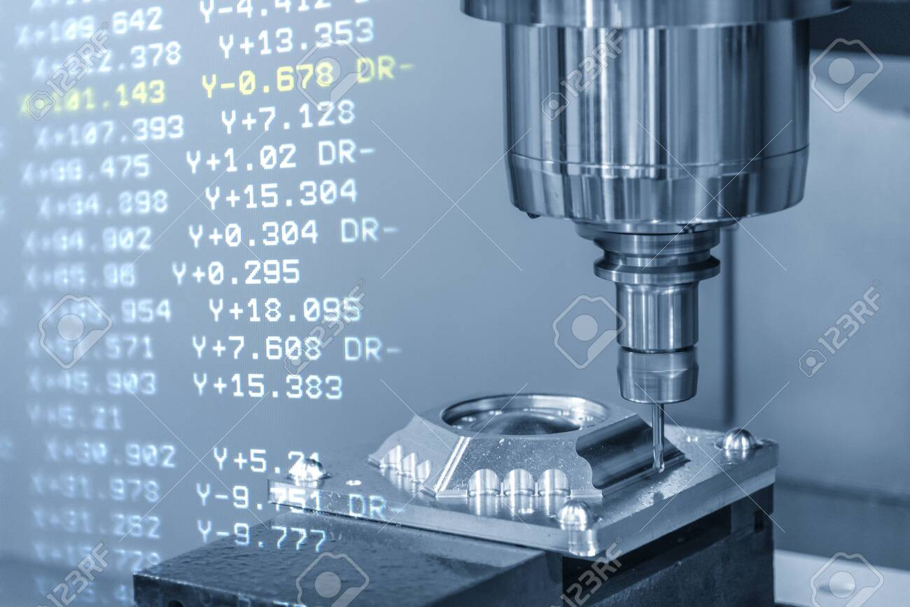 The CNC machining centre with the G-code data background. The CNC milling machine cutting the mould parts. - 124389257