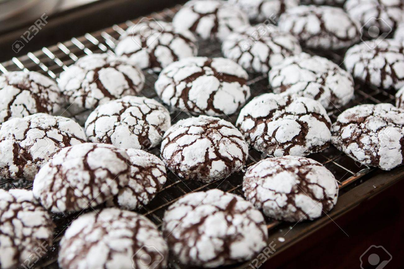 Baking Traditional Home Made Chocolate Crackle Cookies Stock Photo ...