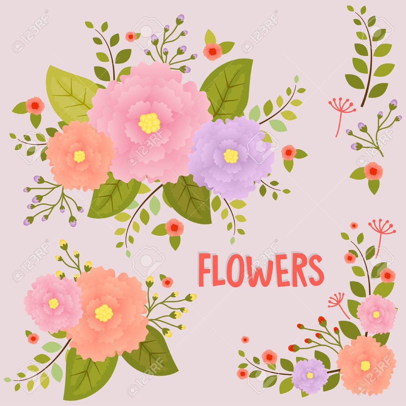 Cute Floral Bouquets, Vintage Flowers Royalty Free Cliparts, Vectors ...