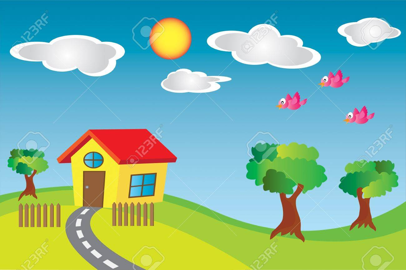 Little House in the Country Stock Vector - 18365388