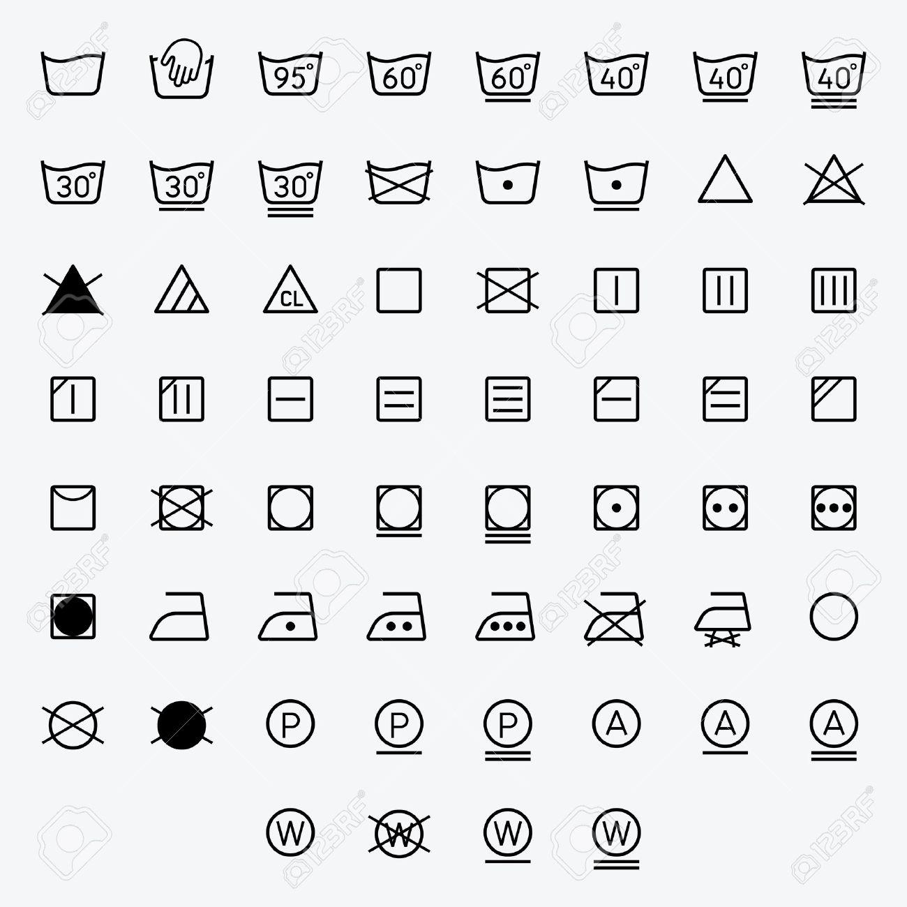 Icon Set Of Laundry Washing Symbols Isolated On White Background