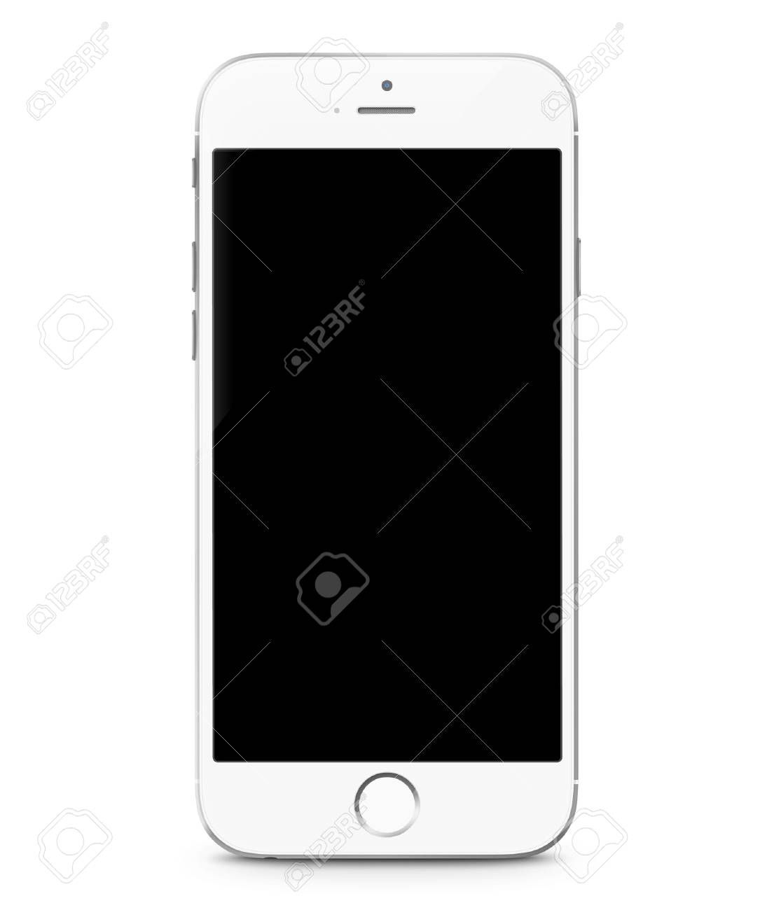Smartphone realistic vector illustration. Mobile phone mockup with blank screen isolated on white background - 54707867