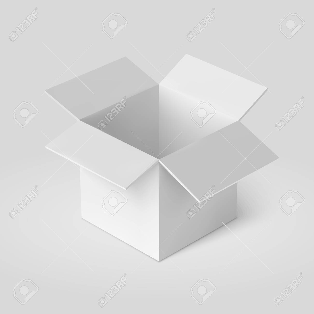 Open Box Template Isolated On White Vector Illustration Stock