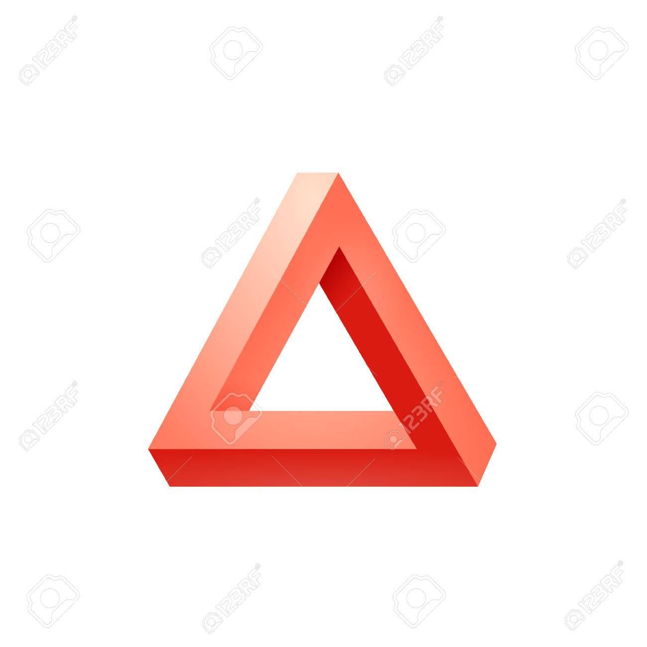 Penrose triangle icon. Impossible triangle shape. Optical Illusion. Vector Illustration isolated on white - 57560164