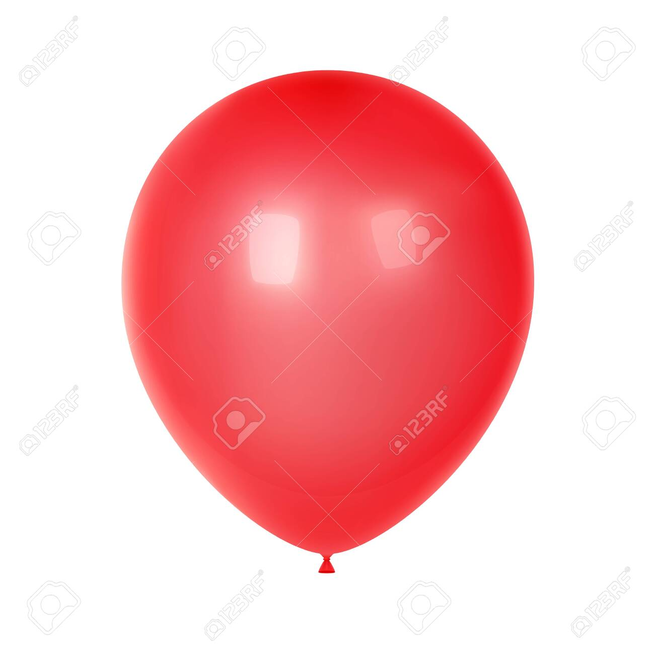 3d Realistic Colorful Balloon. Birthday balloon for party and celebrations. Isolated on white Background. Vector Illustration - 124194230