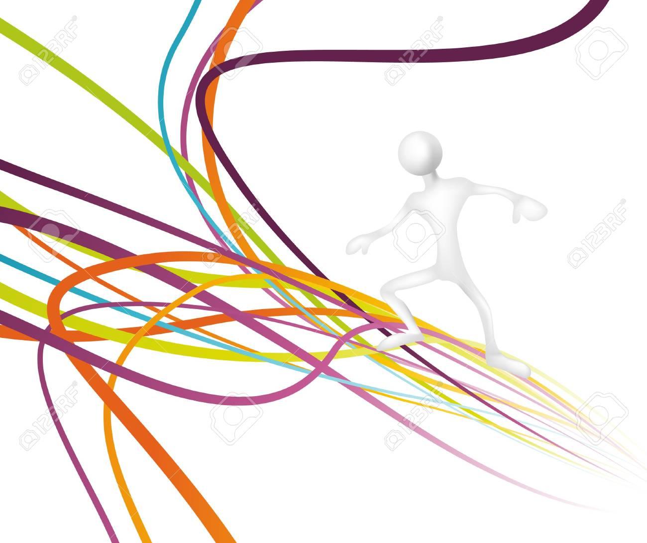 Man surfing on a rainbow wave.  illustration Stock Vector - 7240932