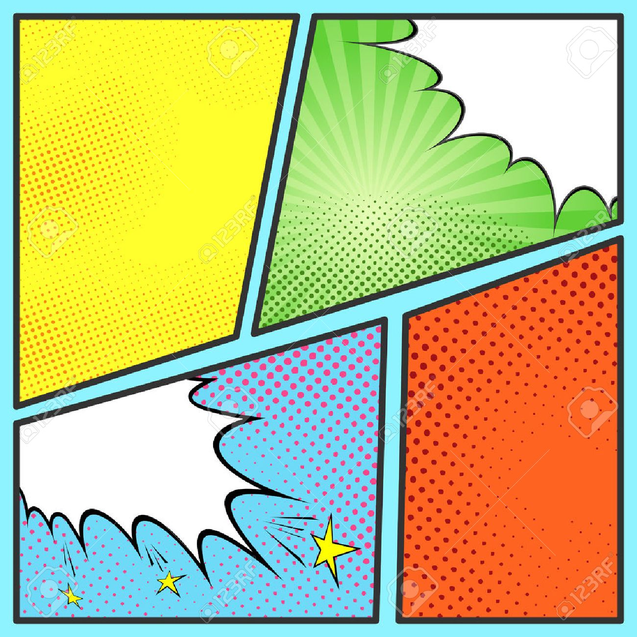Pop art comic page sheet template with collection of beam and pop art comic page sheet template with collection of beam and dot backgrounds stock maxwellsz