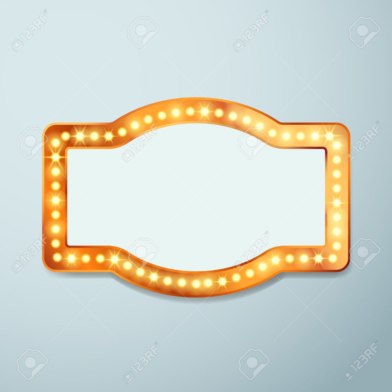 Retro Bulb Circus Cinema Light Sign Template - Vintage Old Frame ...