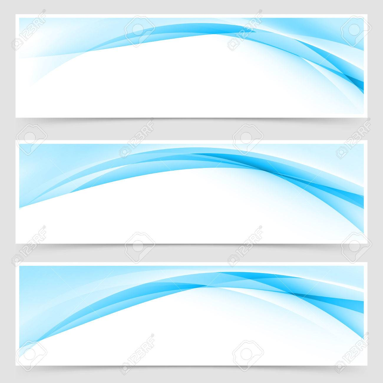 soft blue wave border template header set vector illustration